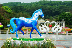 Blue horse sculpture Stock Image