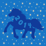 Blue Horse silhouette on stars background Stock Images