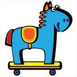 Blue horse on wheels isolated on white Stock Image