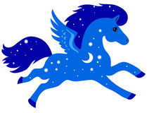 Blue horse with wings Royalty Free Stock Images