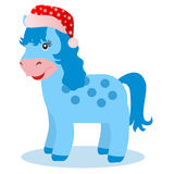 Blue horse in winter on white background. Symbol of 2014 Royalty Free Stock Images