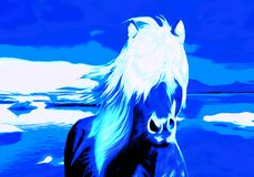 Blue Horse in the Winterland royalty free illustration