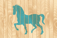 Blue horse on the wooden fence. Blue silhouette of horse on the wooden fence. Vector illustration Royalty Free Stock Photos