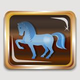 Blue horse. Year blue wooden horse on the eastern horoscope. Square icon. Vector illustration Stock Photos