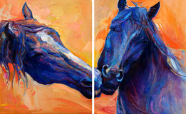 Blue horses. Original abstract oil painting of  beautiful blue horses.Modern Impressionism.Painting is related to year 2014-year of the blue horse Stock Photography