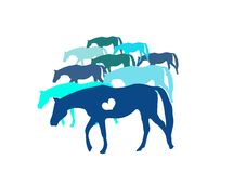 Blue horses Stock Photography