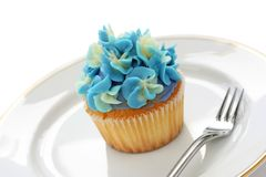 Blue hortensia cupcake Stock Photo