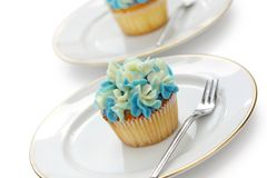Blue hortensia cupcakes Stock Images