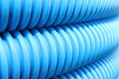 Blue hose plastic pipe Royalty Free Stock Photo