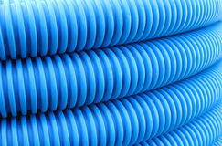 Blue hose plastic pipe Royalty Free Stock Images
