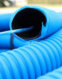 Blue hose plastic pipe Stock Photo