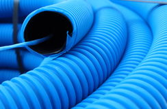 Blue hose plastic pipe Royalty Free Stock Image
