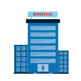 Blue Hospital Building With Doors Stock Images