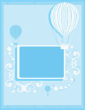 Blue hot air balloon background. Blue and white hot air balloon background with a rectangular frame and white abstract elements stock illustration
