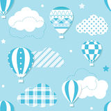 Blue hot air balloons pattern Stock Images