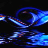 Blue Hot Fire Flame On Water. Radiant vivid blue fire flame on water ripples with reflection makes a unique background image Stock Photography