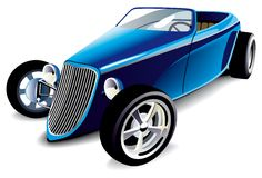 Blue Hot Rod. Vectorial image of old-fashioned blue hot rod, isolated on white background. Contains gradients and blends Royalty Free Stock Image