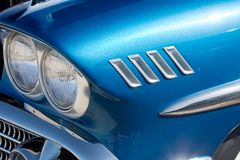 Blue Hot Rod. Quarter view of stylish retro hot rod royalty free stock photography