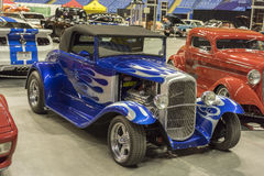 Blue hot rod convertible Stock Photo