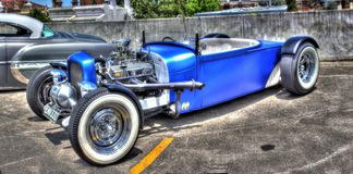 Blue hot rod Royalty Free Stock Photos