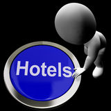 Blue Hotel Button For Travel And Room Stock Photos