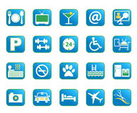 Blue Hotel Vector Icons. Choose from a variety of  hotel amenities icons in blue color Stock Photos