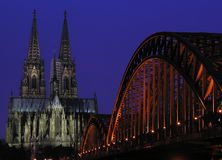 Blue Hour. The landmarks of Cologne at the 'blue hour' after sunset Stock Photo