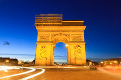 Blue hour Arc. Beautiful night view of the Arc de Triomphe in Paris, France Stock Image