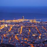 Blue Hour in Barcelona Royalty Free Stock Photography
