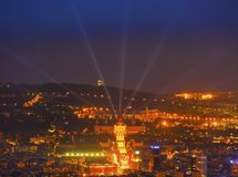 Blue Hour in Barcelona Stock Images