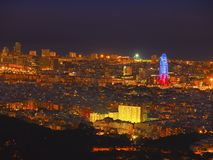 Blue Hour in Barcelona Stock Photo