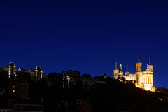Blue Hour on Basilica and hill of Fouviere Royalty Free Stock Image