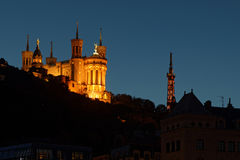 Blue Hour on Basilica in Lyon Stock Image