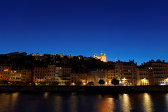 Blue Hour on Basilica and Saone river Royalty Free Stock Images