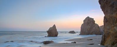 Blue hour at the beach stock photos