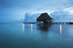 Blue hour. The beautiful scenery of the carribean sea in front of Belize during the blue hour Royalty Free Stock Photo