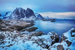 Blue hour. Beautiful winter landscape of picturesque mountains of Lofoten islands Royalty Free Stock Photos