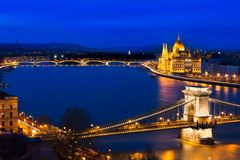 Blue hour in Budapest with Szechenyi Chain Bridge, Hungary Royalty Free Stock Image