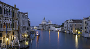 Blue hour Canale Grande, View from Academia bridge Royalty Free Stock Photo