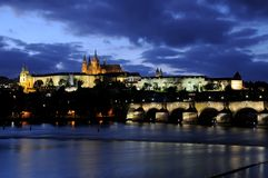 Blue hour at the charles bridge and the prague castle in autumn Royalty Free Stock Image