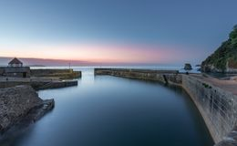 Blue Hour, Charlestown Harbour, Cornwall stock images
