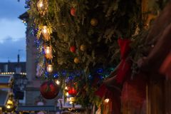 Blue hour christmas decoration on an advent xmas market in histo. Rical city of south germany near city of munich and stuttgart at december winter evening Stock Photography