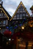 Blue hour christmas decoration on an advent xmas market in histo. Rical city of south germany near city of munich and stuttgart at december winter evening Stock Photo