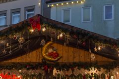 Blue hour christmas decoration on an advent xmas market in histo. Rical city of south germany near city of munich and stuttgart at december winter evening Royalty Free Stock Images