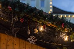 Blue hour christmas decoration on an advent xmas market in histo. Rical city of south germany near city of munich and stuttgart at december winter evening Royalty Free Stock Image