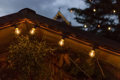 Blue hour christmas decoration on an advent xmas market in histo. Rical city of south germany near city of munich and stuttgart at december winter evening Stock Image