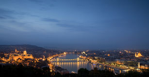 Blue hour cityscape over Budapest, Hungary. A view from above the beautiful city lights and landmarks from Budapest Stock Photos