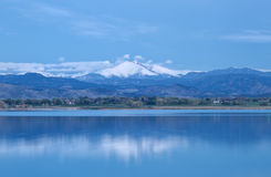 Blue Hour on the Colorado Mountain Peaks. Blue hour on Mt. Meeker and Long's Peak at McIntosh Lake in Longmont, Colorado royalty free stock photos