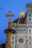 Blue hour on Florence Cathedral and Duomo place Stock Photography