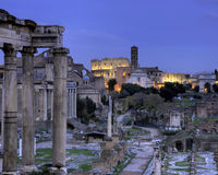 Blue hour at the Forum Romanum. Rome, Italy Royalty Free Stock Image
